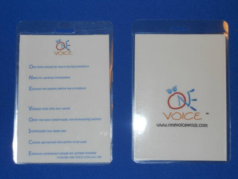 vertical id badge card one voice 4 kids